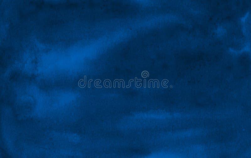 Struttura blu scuro dell'acquerello con i colpi lacerati e le bande Fondo astratto per progettazione, le disposizioni ed i modell illustrazione di stock