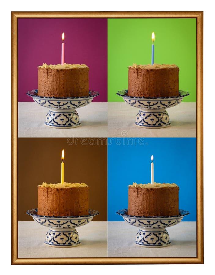 Struttura bruciante della candela della torta di compleanno del cioccolato fotografie stock