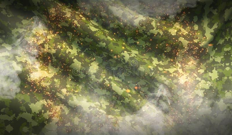 Struttura cachi di guerra del fondo del tessuto militare del cammuffamento con fumo fotografia stock