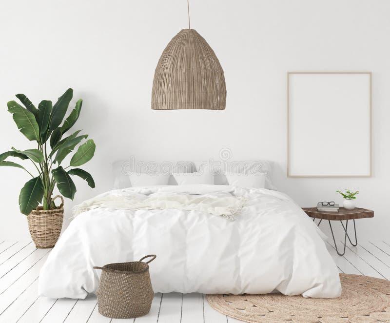 Struttura in camera da letto, stile scandinavo del manifesto del modello illustrazione vettoriale