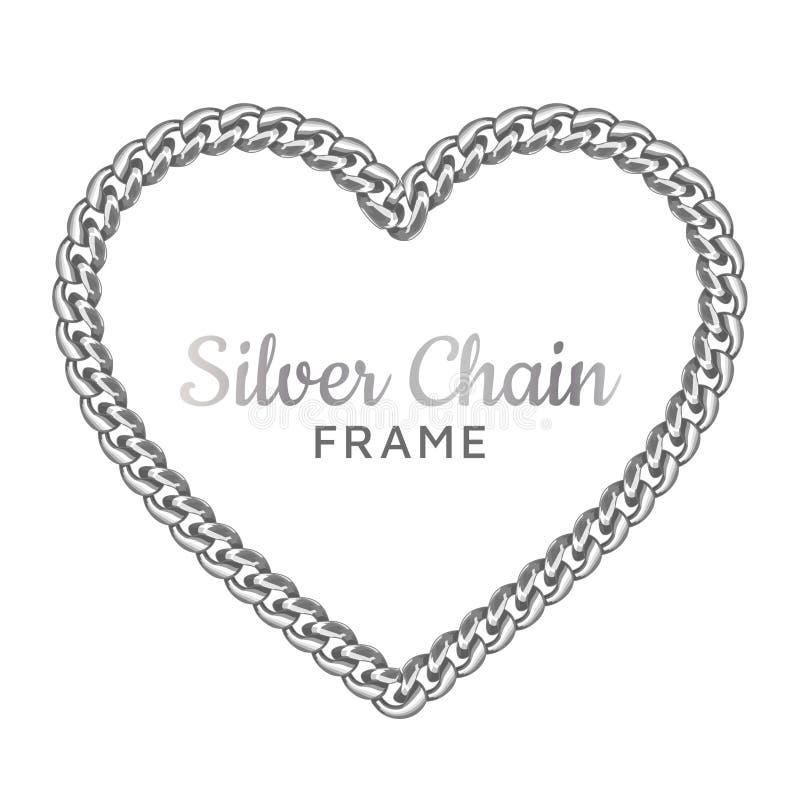Struttura a catena d'argento del confine di amore del cuore royalty illustrazione gratis