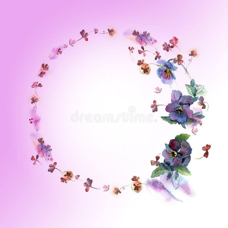 Struttura circolare del fiore dell'acquerello sveglio Fondo con le viole del pensiero del blu dell'acquerello illustrazione di stock