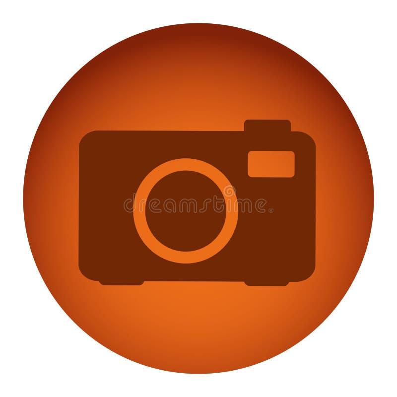 struttura circolare di colore arancio con la macchina fotografica di analogo della siluetta royalty illustrazione gratis