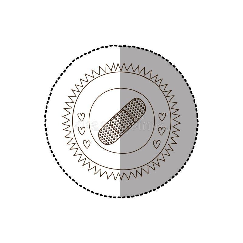Struttura circolare monocromatica con l'autoadesivo medio dell'ombra con l'aiuto di banda illustrazione vettoriale