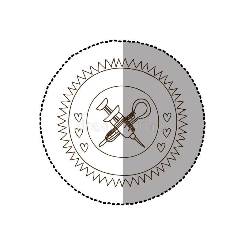 Struttura circolare monocromatica con l'autoadesivo medio dell'ombra con la siringa ed il termometro attraversati illustrazione di stock