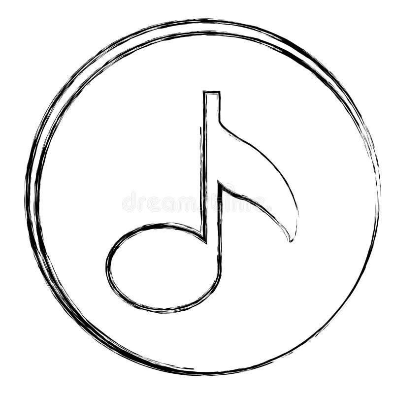 struttura circolare vaga della siluetta con l'icona della nota del segno ottavo illustrazione vettoriale