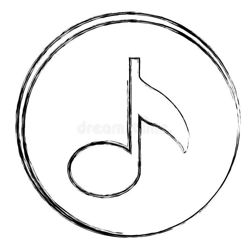 struttura circolare vaga della siluetta con l'icona della nota musicale illustrazione di stock