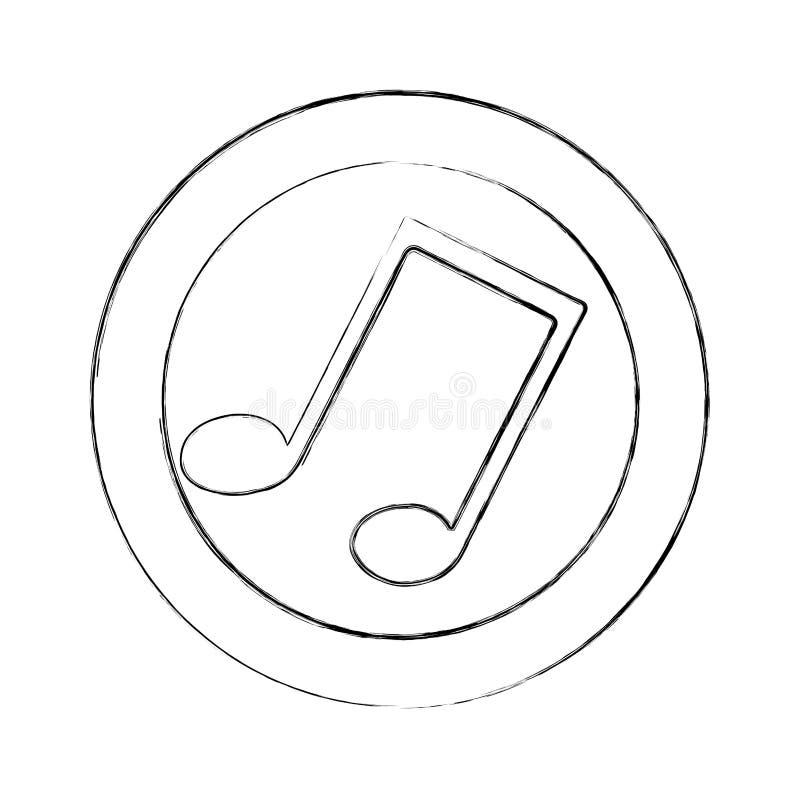 struttura circolare vaga della siluetta con la nota musicale royalty illustrazione gratis