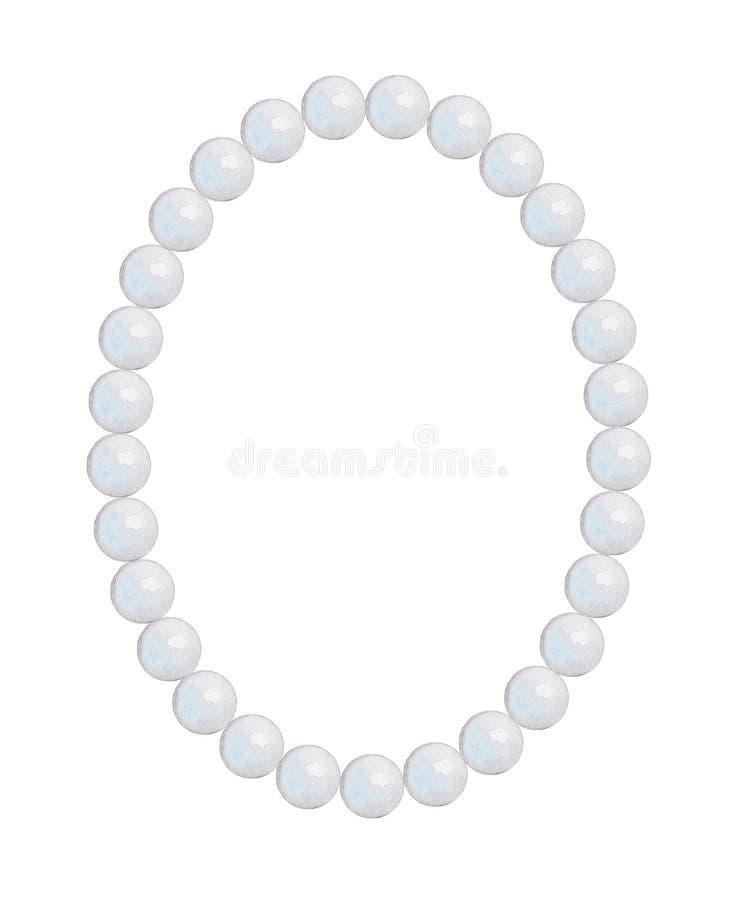 Struttura-collana ovale della perla, pittura dell'acquerello illustrazione vettoriale