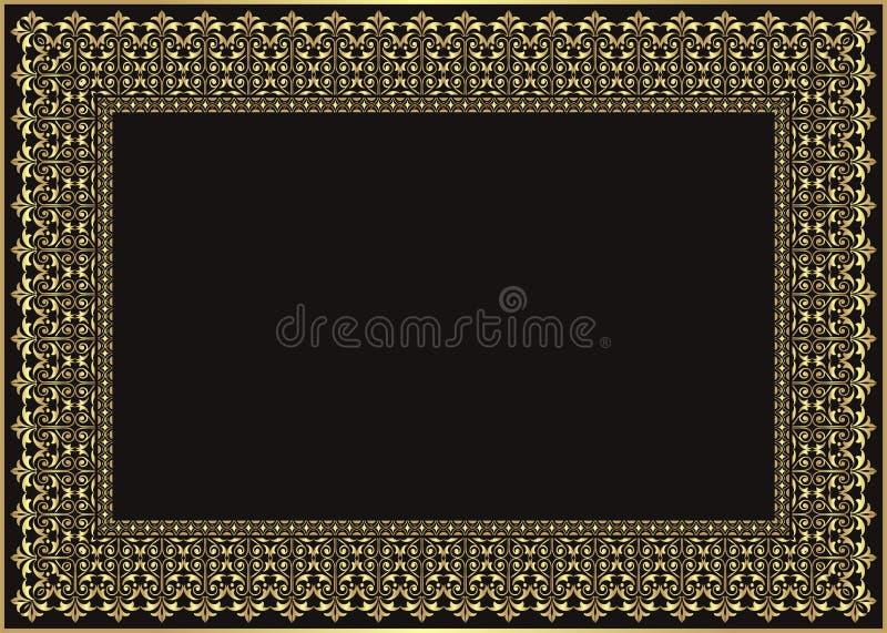 Struttura - confine con progettazione di stile di colore dell'oro royalty illustrazione gratis