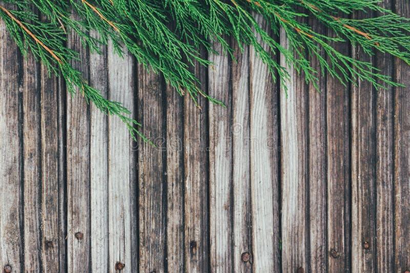 Struttura creativa della disposizione fatta dei rami dell'abete di Natale su fondo di legno Disposizione piana, vista superiore fotografia stock libera da diritti