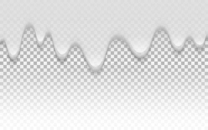 Struttura crema Struttura cremosa liquida su fondo trasparente Yogurt di gocciolamento realistico Strati della besciamella Coni d illustrazione di stock