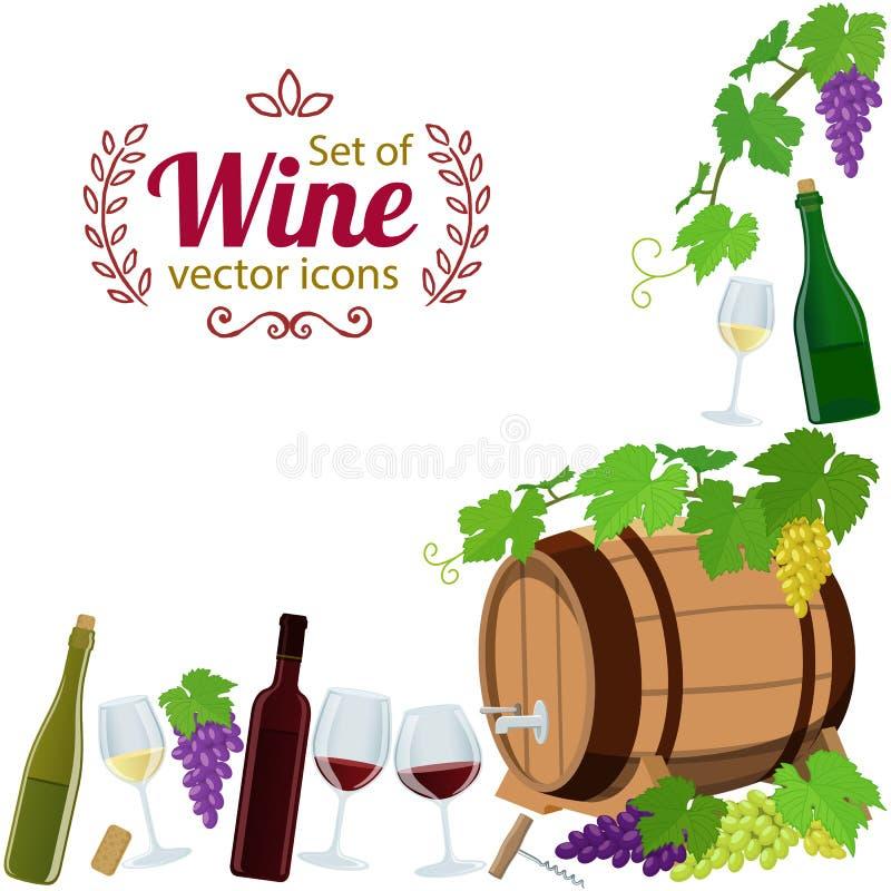 Struttura d'angolo delle icone del vino royalty illustrazione gratis