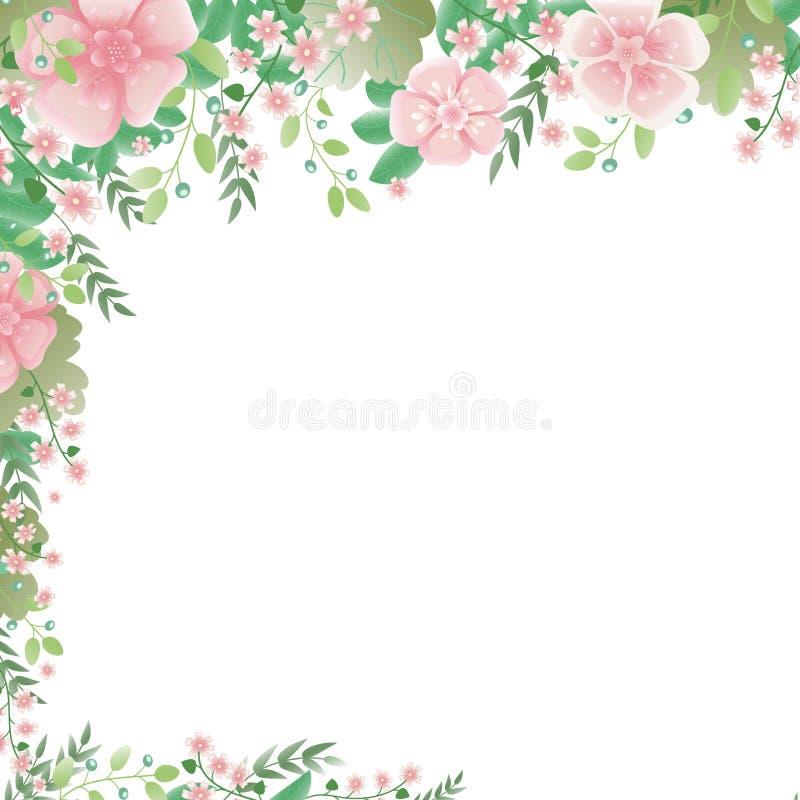 Struttura d'angolo fatta dei rami con i fiori, le foglie e le bacche Liberi per testo royalty illustrazione gratis