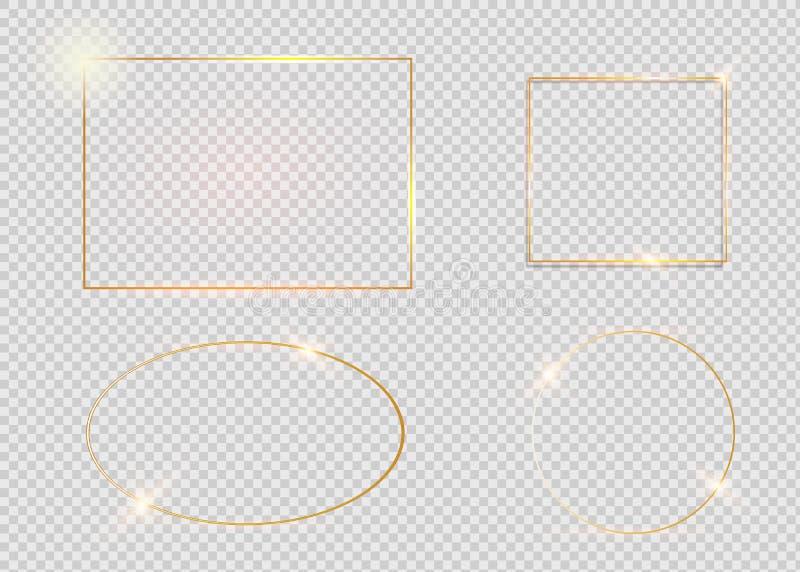 Struttura d'annata d'ardore brillante dell'oro con le ombre isolate su fondo trasparente Confine realistico di lusso dorato di re royalty illustrazione gratis