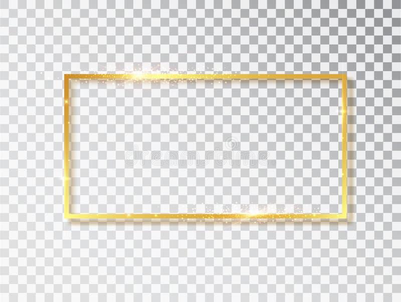 Struttura d'annata d'ardore brillante dell'oro con le ombre isolate su fondo trasparente Rettangolo realistico di lusso dorato illustrazione vettoriale