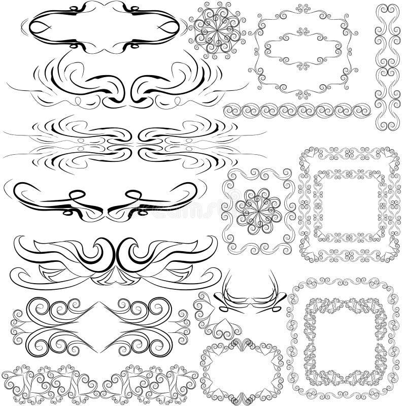 Struttura d'annata con il bello confine a filigrana e decorativo, cartoline d'auguri di lusso, illustrazione di vettore illustrazione vettoriale