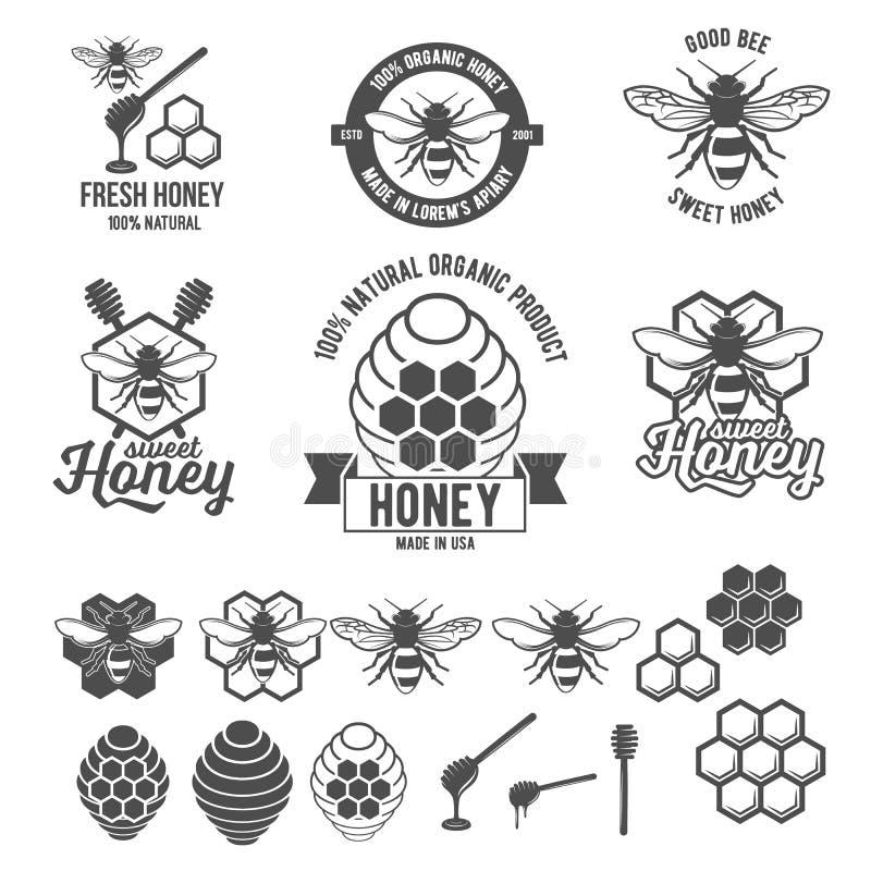 Struttura d'annata con l'insieme di etichetta del miele illustrazione vettoriale