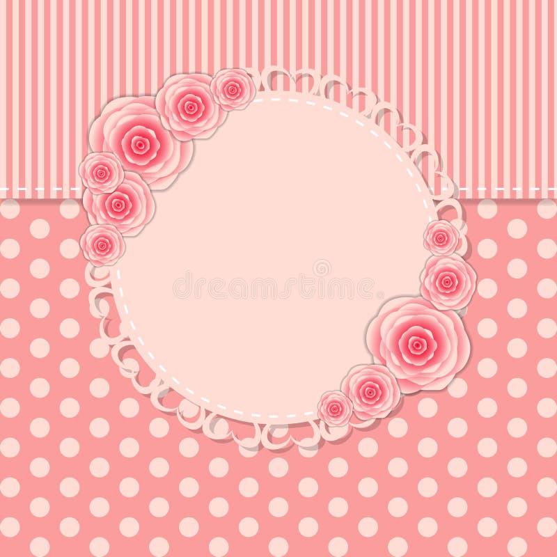 Struttura d'annata con Rose Flowers Vector illustrazione di stock