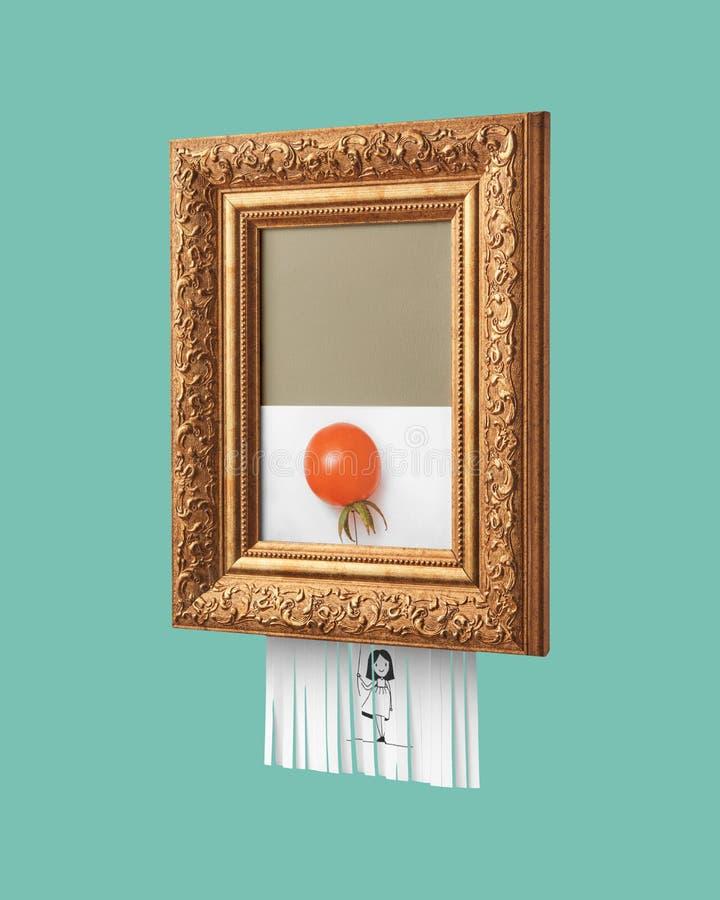 Struttura d'annata con un'immagine autodistruttiva di una ragazza sorridente che tiene un pallone, fatta del pomodoro, su un fond fotografia stock