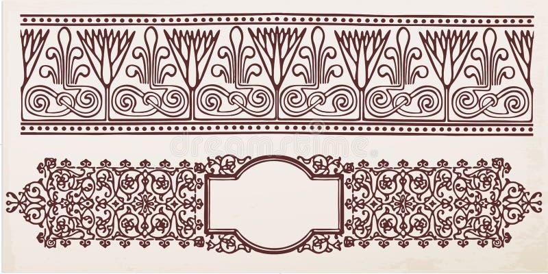 Struttura d'annata del confine con il retro ornamento royalty illustrazione gratis
