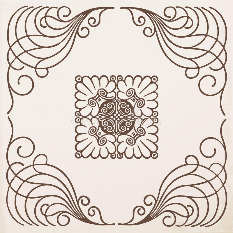 Struttura d'annata del confine con l'ornamento royalty illustrazione gratis