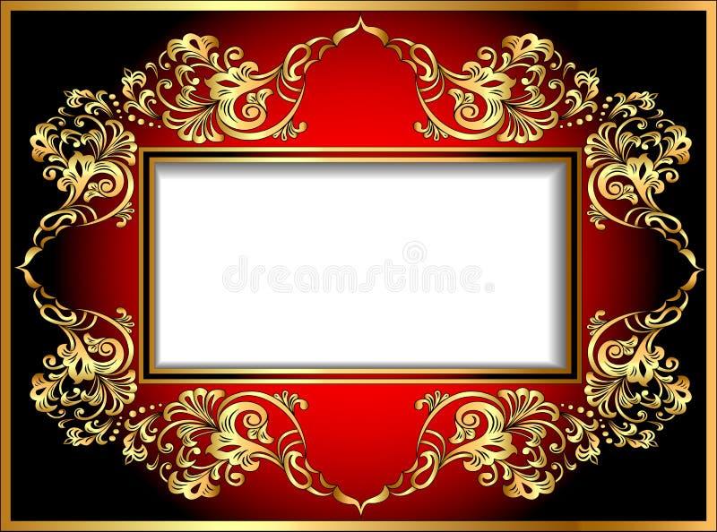 Struttura d'annata del fondo con gli ornamenti dell'oro royalty illustrazione gratis