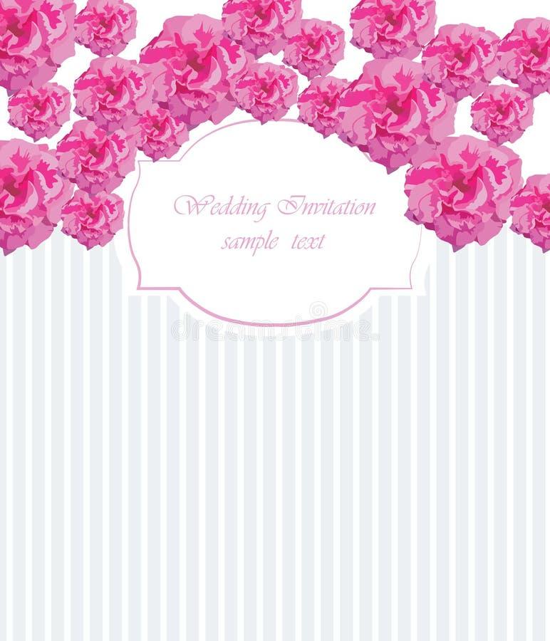 Struttura d'annata dell'acquerello con le rose rosa di fioritura illustrazione di stock