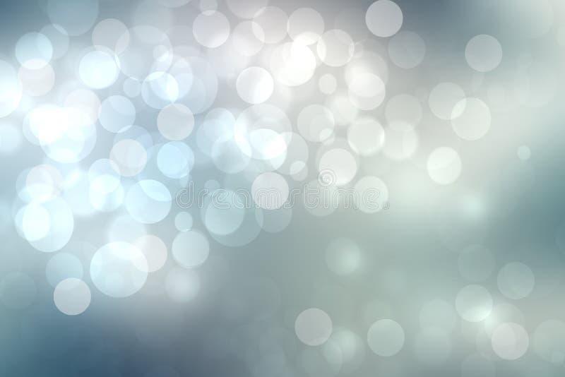 Struttura d'argento blu-chiaro festiva del fondo del bokeh dell'estratto con i cerchi variopinti e le luci del bokeh Bello contes fotografie stock libere da diritti