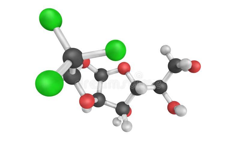 struttura 3d di cloralosio, di un avicide e di un rodenticida illustrazione vettoriale