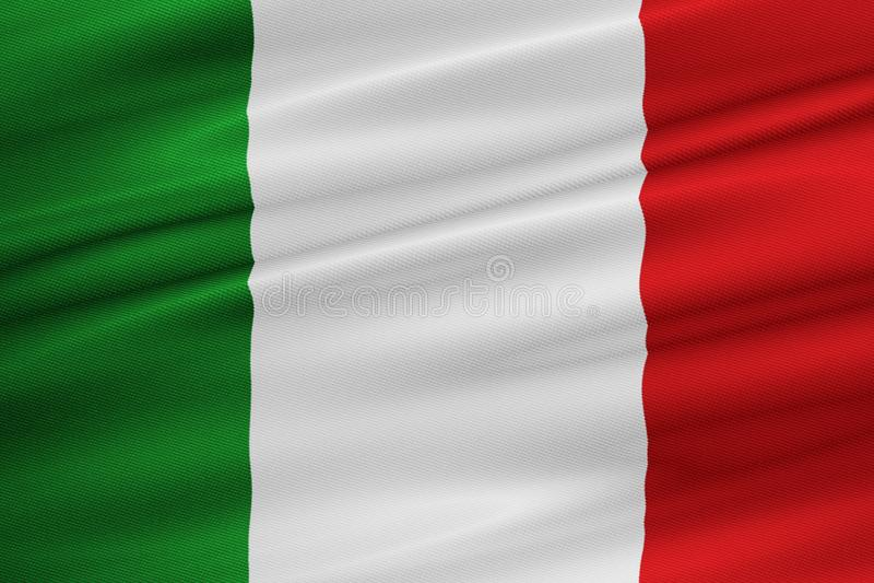 Struttura d'ondeggiamento del tessuto della bandiera dell'Italia illustrazione di stock