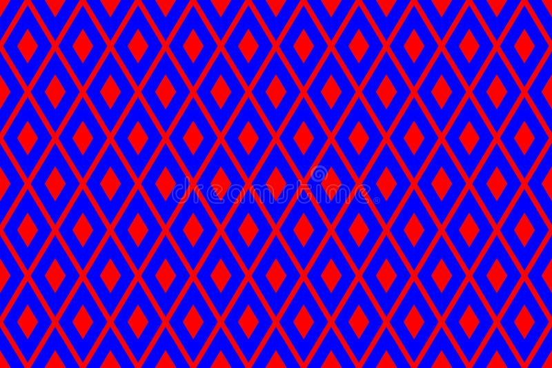 Struttura dai rombi rossi sui precedenti blu illustrazione di stock