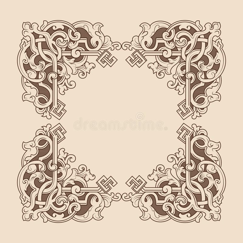 Struttura decorativa con l'ornamento di arte Illustrazione di vettore Angoli d'annata degli elementi di progettazione royalty illustrazione gratis