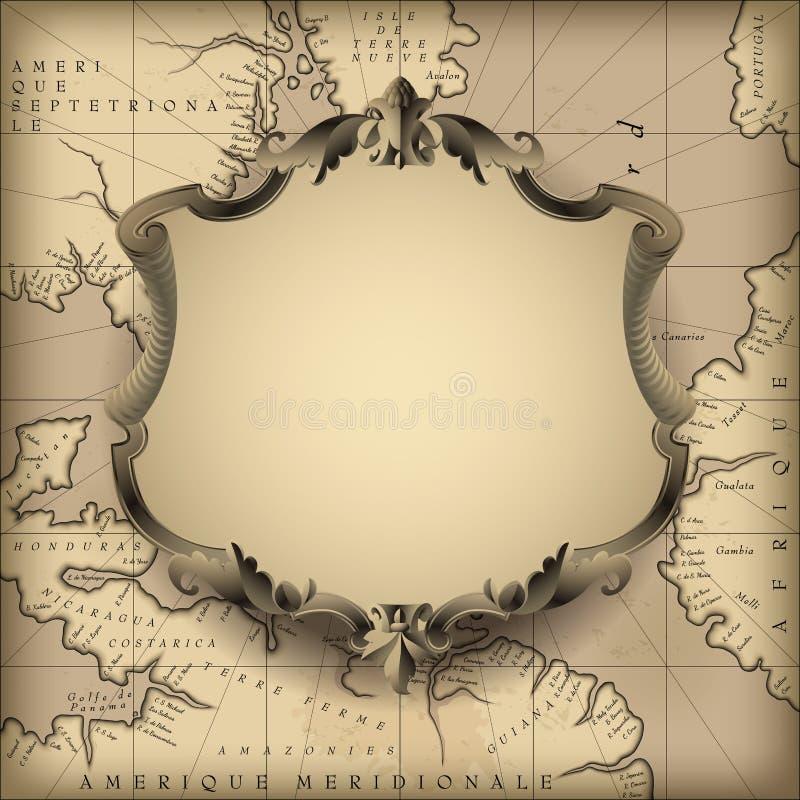 Struttura decorativa d'annata contro il vecchio fondo geografico della mappa royalty illustrazione gratis