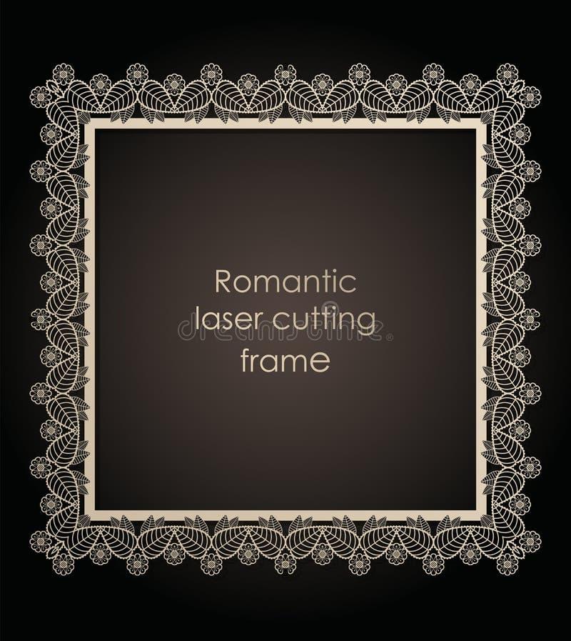 Struttura decorativa del modello per il taglio del laser della carta, cartone nozze, illustrazione di vettore illustrazione di stock