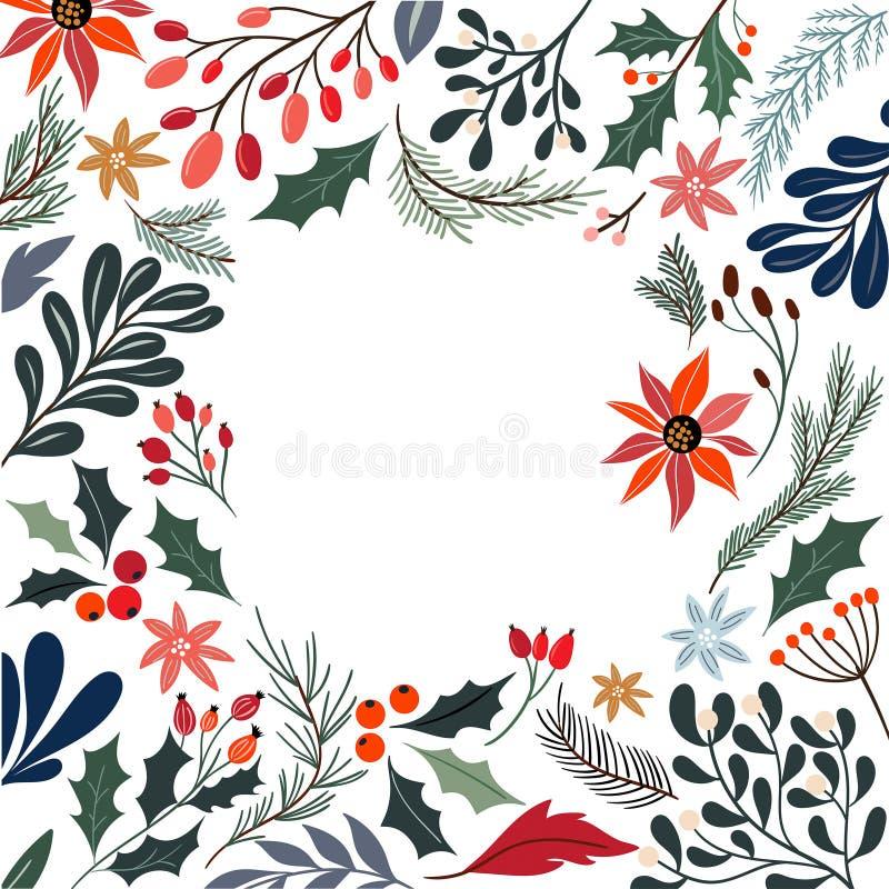 Struttura decorativa di Natale con i fiori e le piante stagionali illustrazione vettoriale
