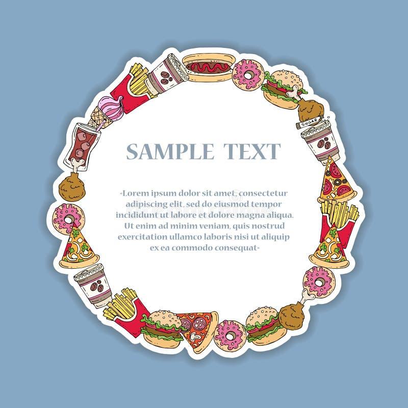 Struttura decorativa disegnata a mano con alimenti a rapida preparazione royalty illustrazione gratis