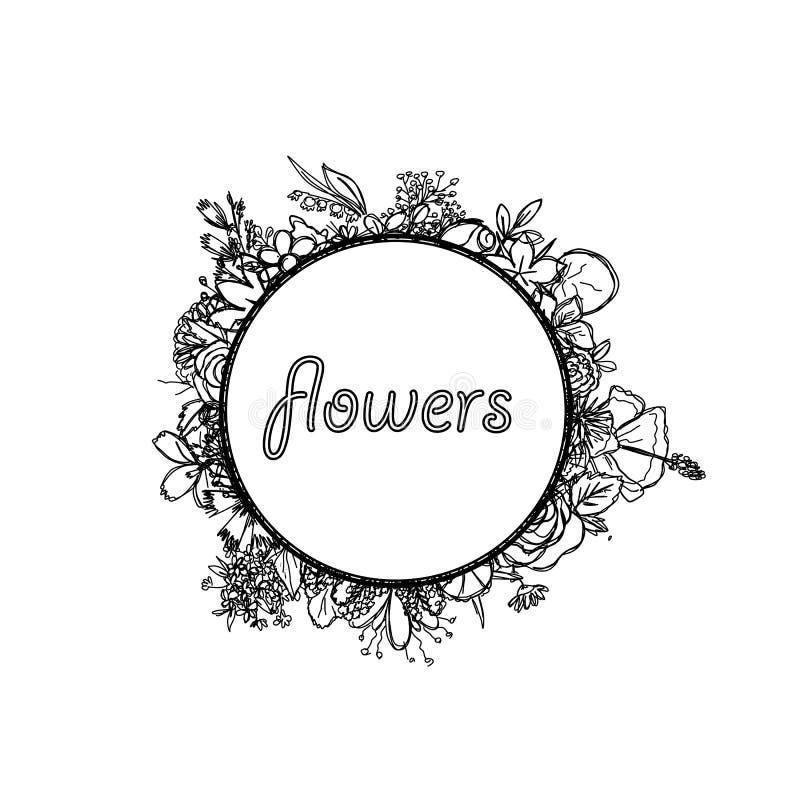Struttura decorativa rotonda con l'iscrizione nel centro e con i fiori sui bordi estratti royalty illustrazione gratis