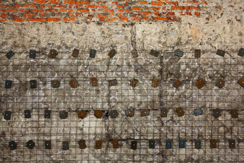 Struttura degli elementi del calcestruzzo, del mattone e del metallo fotografia stock
