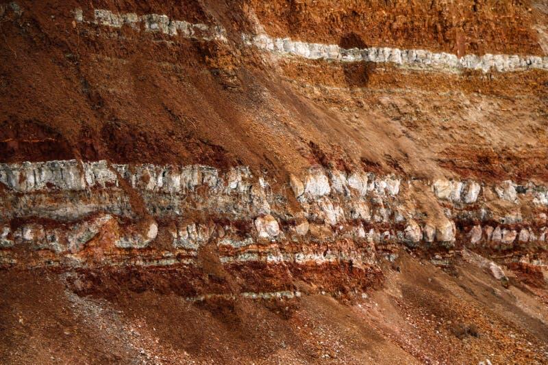 Struttura degli strati differenti di argilla sotterranei nella cava dell'argilla dopo lo studio geologico di suolo fotografie stock libere da diritti