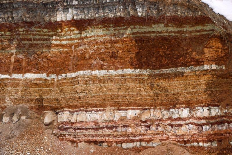 Struttura degli strati differenti di argilla sotterranei nella cava dell'argilla dopo lo studio geologico di suolo fotografia stock