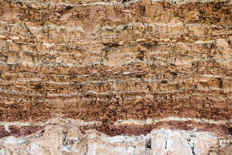 Struttura degli strati differenti di argilla sotterranei nella cava dell'argilla dopo lo studio geologico di suolo fotografia stock libera da diritti