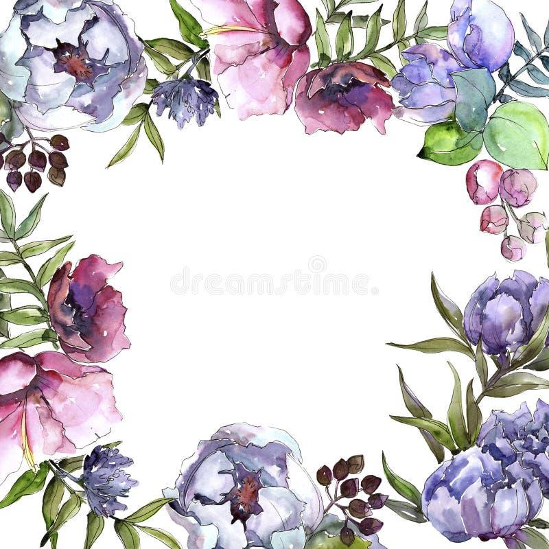 Struttura dei wildflowers del mazzo in uno stile dell'acquerello illustrazione vettoriale