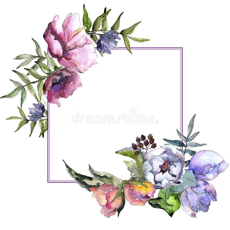 Struttura dei wildflowers del mazzo in uno stile dell'acquerello royalty illustrazione gratis