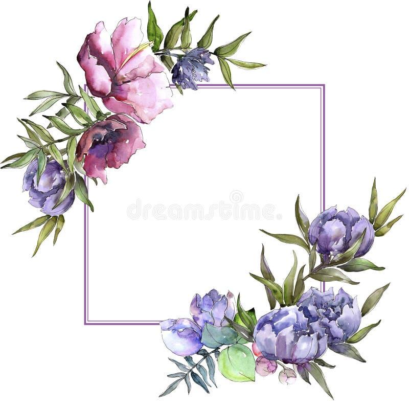 Struttura dei wildflowers del mazzo in uno stile dell'acquerello illustrazione di stock