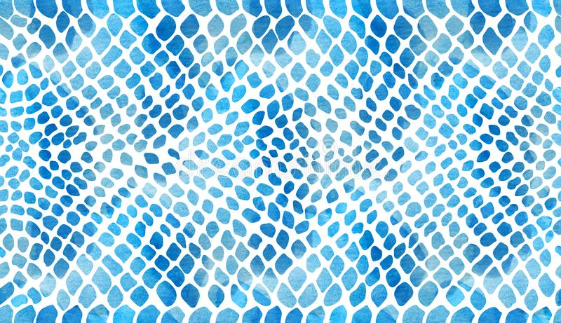 Struttura del blu dello snakeskin su un fondo bianco in acquerello illustrazione di stock