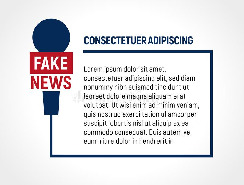 Struttura del cavo del microfono con testo, notizie false, illustrazione falsa di vettore di radiodiffusione Modello del bolletti illustrazione di stock