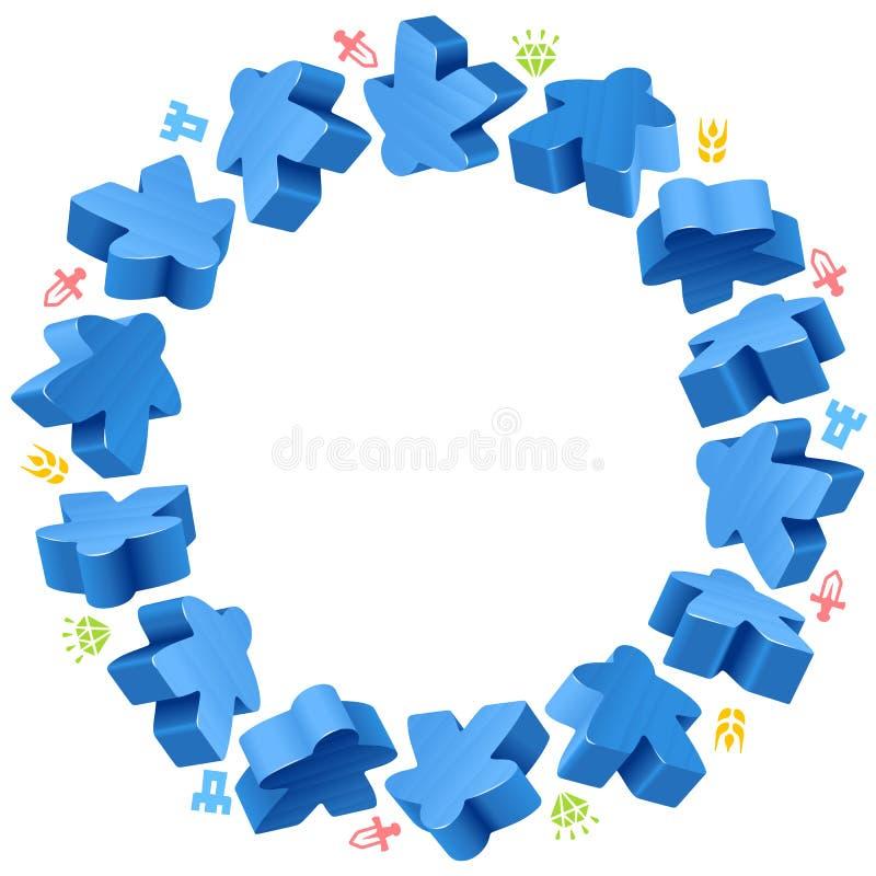 Struttura del cerchio dei meeples blu illustrazione di stock