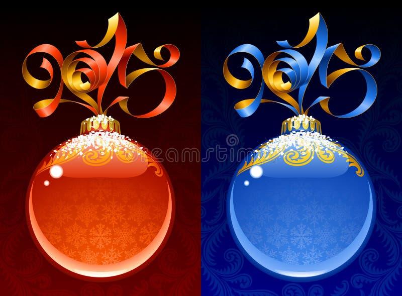 Struttura del cerchio del nuovo anno e di Natale 2015 Colore rosso ed azzurro royalty illustrazione gratis