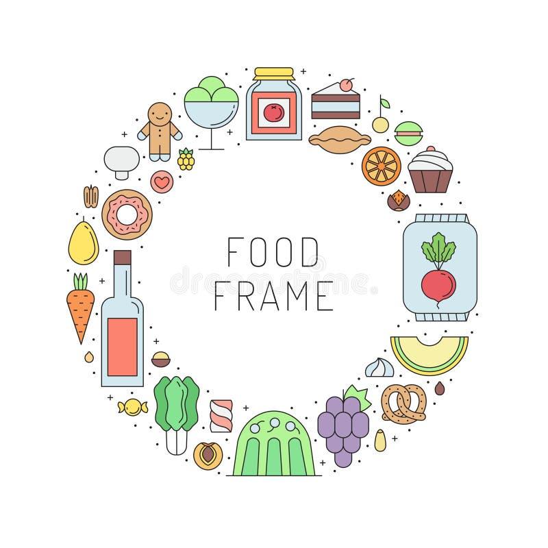 Struttura del cerchio del profilo del negozio di alimentari delle bevande e dell'alimento Parte una illustrazione di stock